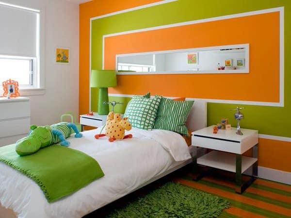 Verde y naranja