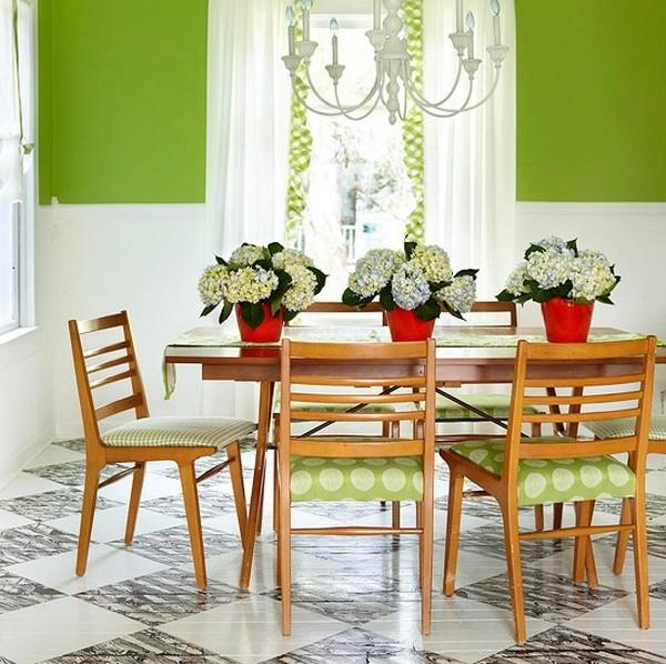 Blanco y verde manzana para pintar tu casa for Colores de cortinas para cocina comedor