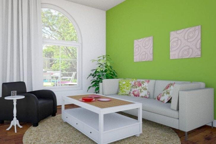 Sala verde y blanco