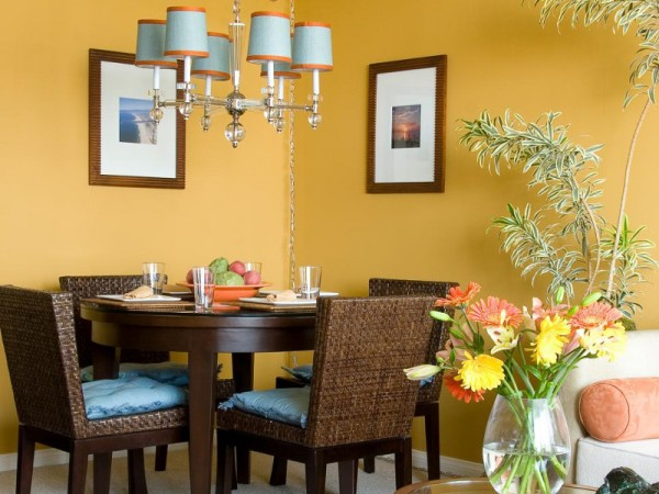 Colores para las paredes del comedor for Colores calidos para living comedor