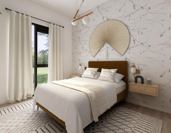 Dormitorio empapelado sencillo blanco