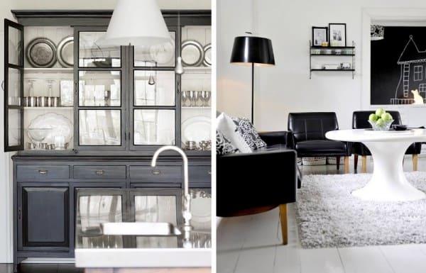 Interiores clásicos blanco y negro