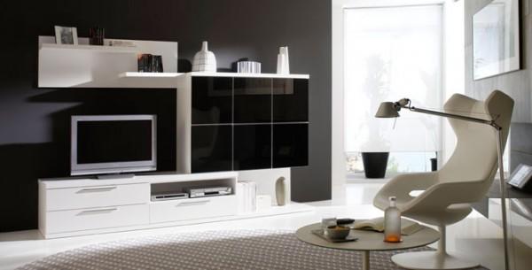 Interiores en combinaci n de blanco y negro - Como decapar un mueble en blanco ...
