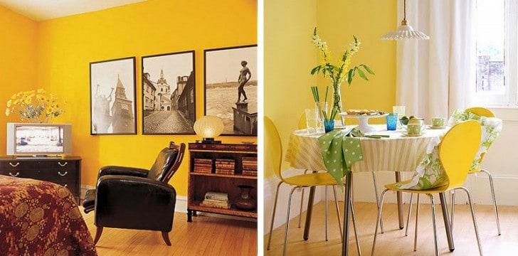 Las paredes interiores en color amarillo - Pintura para salon comedor ...