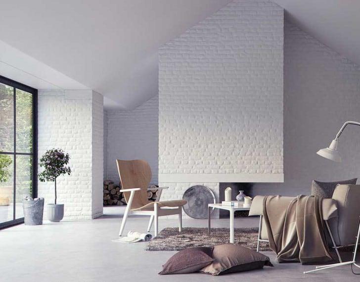 Gran salón ladrillo visto blanco