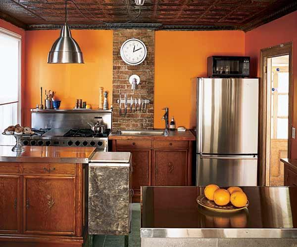 paredes de la cocina en naranja