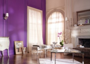 Interior beige y purpura