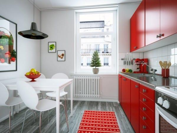 Cocina pequeña blanca y roja