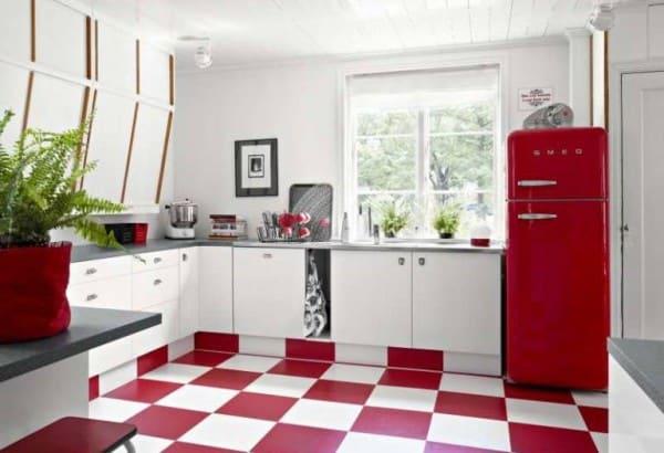 Cocinas en blanco y rojo for Pisos para cocina moderna