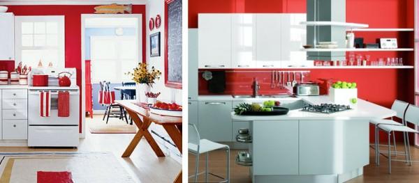 Cocinas en blanco y rojo - Colores paredes cocina ...