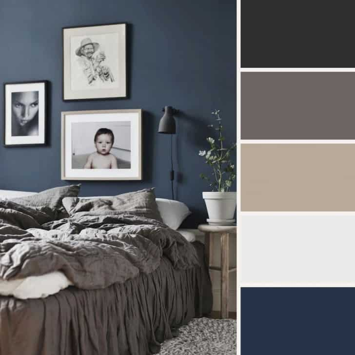 Dormitorio azul oscuro
