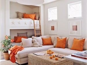 Decoración con toques de color naranja