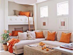 Decoración con toques de color naranja