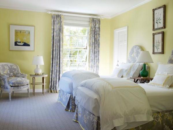 Dormitorio amarillo suave