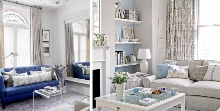 Decoración azul y gris