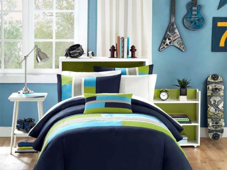 Habitación azul y verde