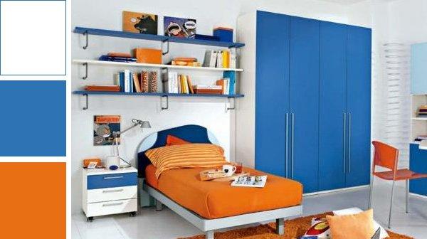 Combinaciones de colores para habitaciones de varones for Cuartos pintados de azul