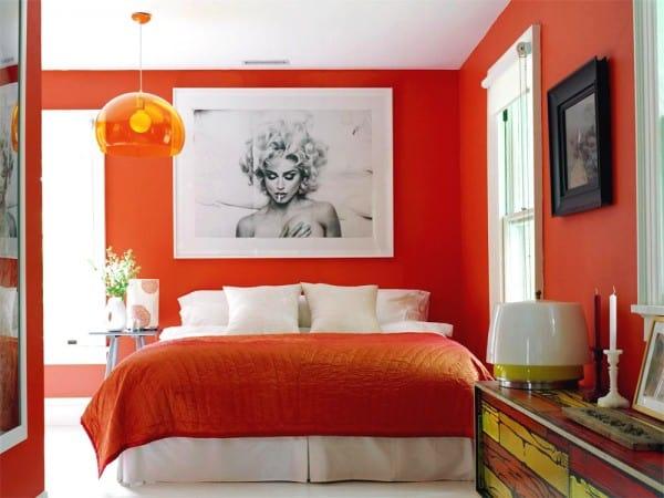Dormitorio naranja intenso