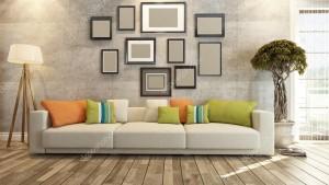 Sala con detalles coloridos