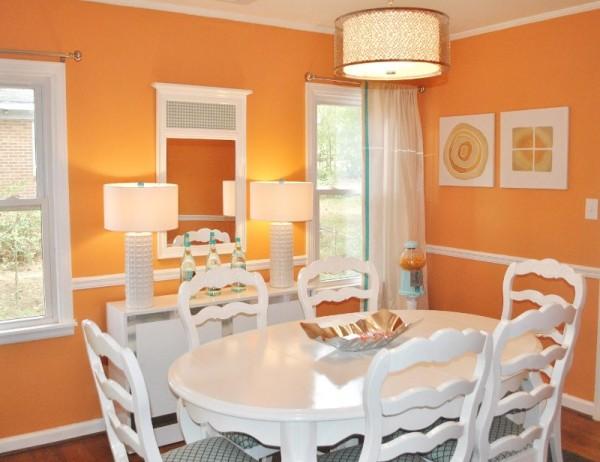 Color naranja para el comedor - Pintura comedor moderno ...