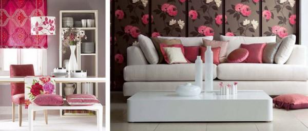Sal n en color rosa for Combinar muebles de distintos colores