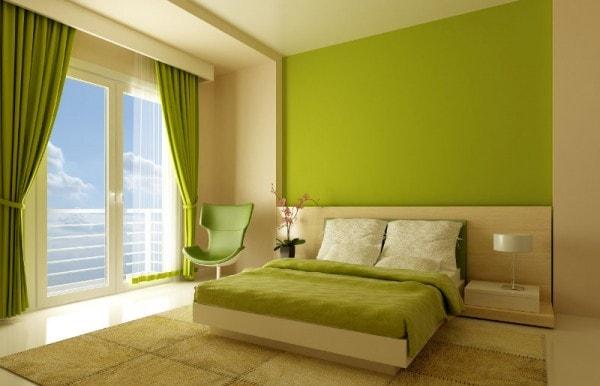 Dormitorio beige y verde