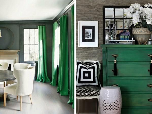 Cotinas y mueble verde esmeralda