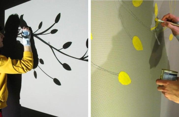 Pintando con proyector diseño floral