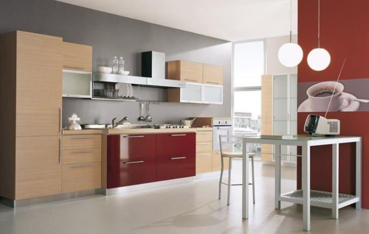 Cocina moderna color vino