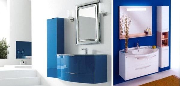 Baño moderno blanco y azul