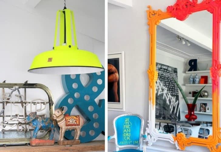 Lámpara y espejo de neón