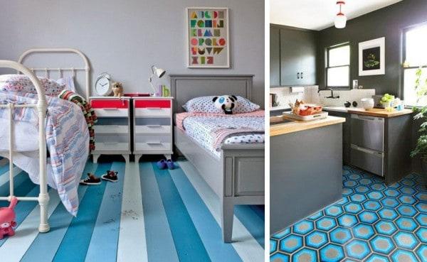 De que color pintar las paredes con un piso azul for Decoracion piso playa