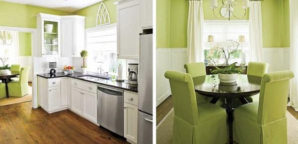 Tonalidades verdes para pintar las paredes for Colores para cocina comedor