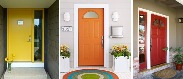 Puertas amarillo naranja y rojo