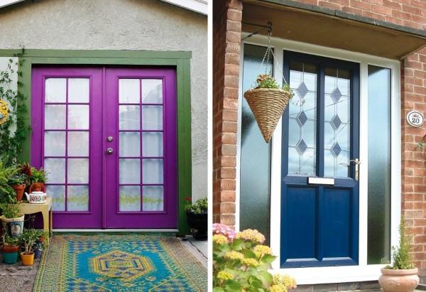 Puertas fucsia y azul