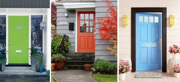 Puertas verde naranja y turquesa
