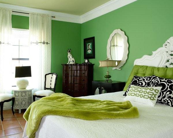 Dormitorio en colores verdes
