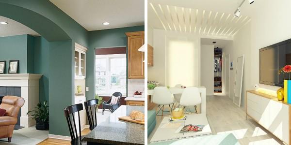 Relacionar dos ambientes con color - Como pintar un salon en dos colores ...