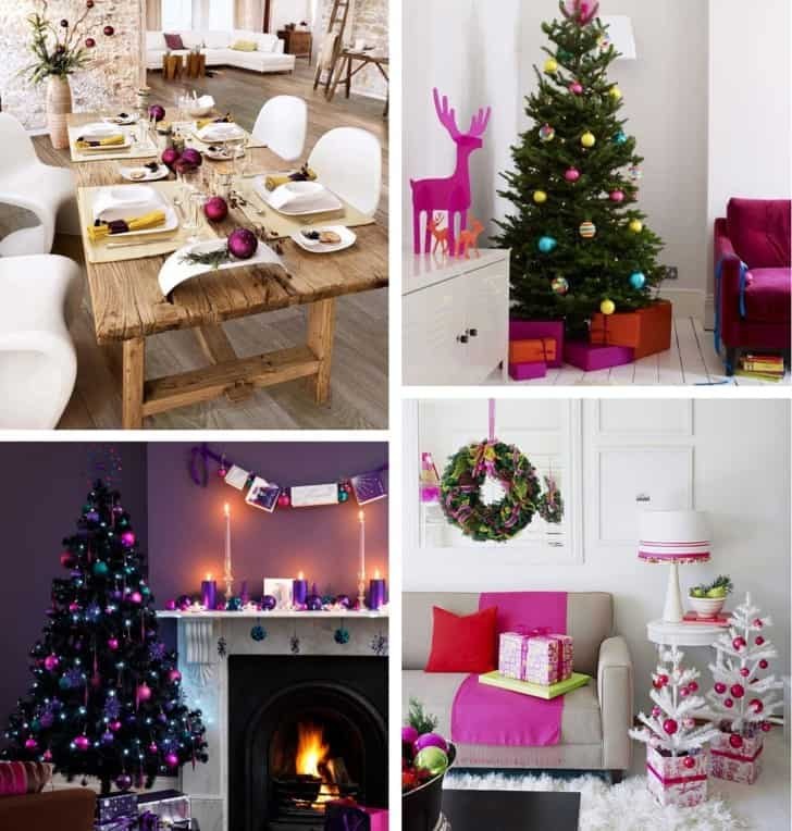 Decoracion navideña rosa purpura