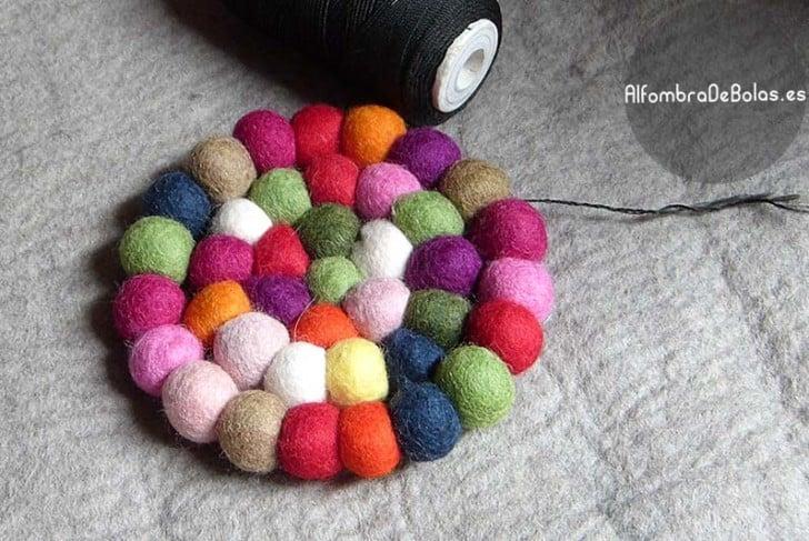 Fabricacion alfombra de bolas