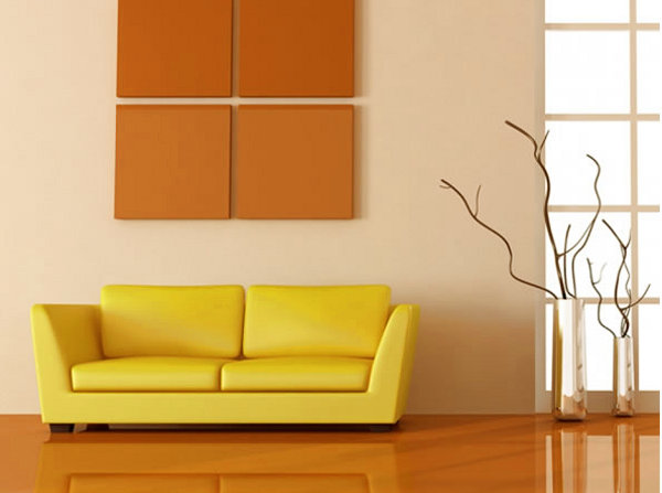 Sof amarillo de qu color pintar las paredes for Pintura beige pared
