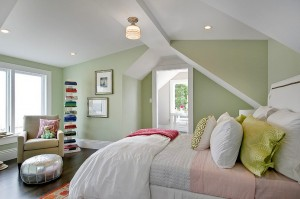 Dormitorio verde suave