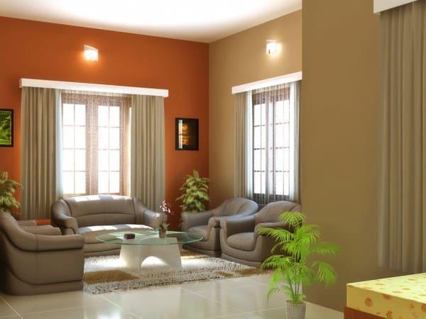 Salón living pared terracota