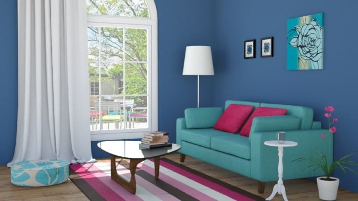 Living de paredes de color azul