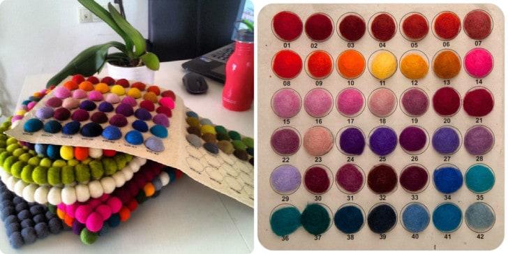 Colores bolas de fieltro