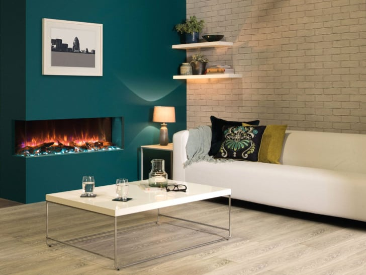 Pared color teal en el living