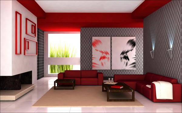 Salon combinado en rojo y gris