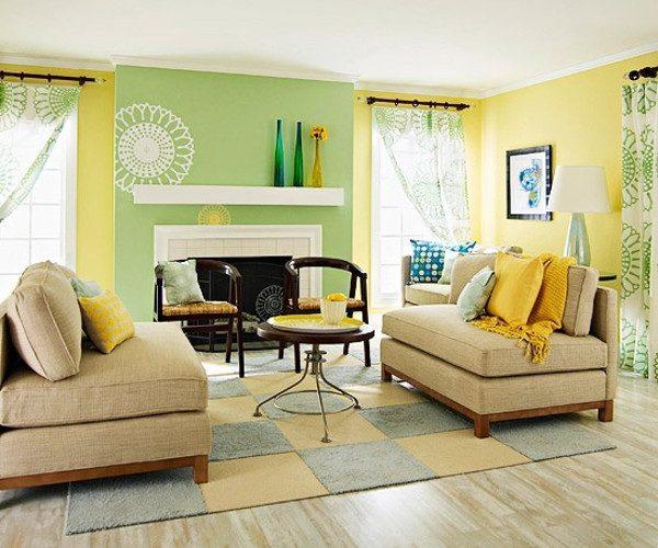 Decoracion de sala amarillo y verde