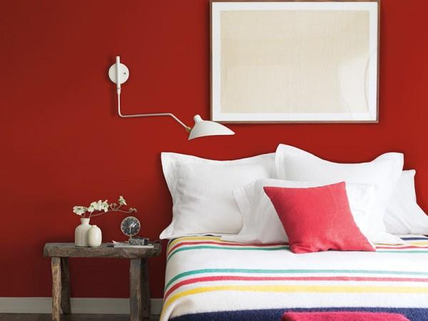 Dormitorio pared roja