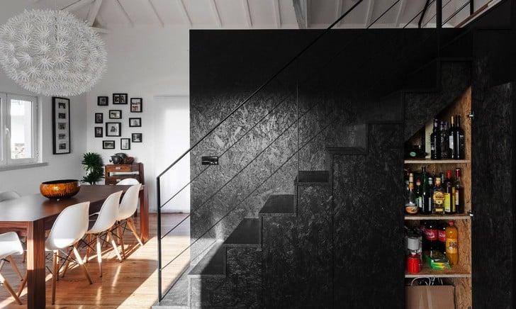 OSB pintado de negro